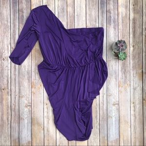 ASOS Purple One Shoulder Asymmetric Bodycon Dress